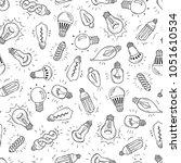 sketch light bulb idea symbols... | Shutterstock .eps vector #1051610534