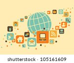 earth and social  media  web... | Shutterstock .eps vector #105161609