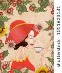elegant lady in red dress is... | Shutterstock .eps vector #1051623131