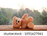 teddy bear toy alone on wood | Shutterstock . vector #1051627061