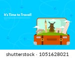 it s time to travel.trip to... | Shutterstock .eps vector #1051628021
