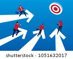 businessmen stand on arrow and... | Shutterstock .eps vector #1051632017