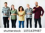diverse people standing with... | Shutterstock . vector #1051639487