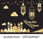 beautiful ramadan kareem... | Shutterstock .eps vector #1051639667