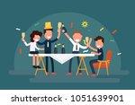 cheerful business team... | Shutterstock .eps vector #1051639901