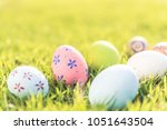 happy easter   closeup colorful ... | Shutterstock . vector #1051643504