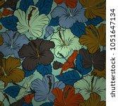exquisite pattern with hibiscus ... | Shutterstock .eps vector #1051647134