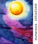 yellow big full moon on dark... | Shutterstock . vector #1051651445