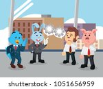 business animal discussing... | Shutterstock .eps vector #1051656959