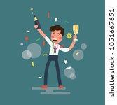 happy businessman is standing... | Shutterstock .eps vector #1051667651