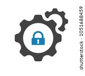 settings icon with padlock sign.... | Shutterstock .eps vector #1051688459