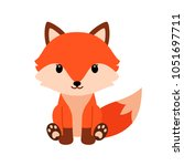cute cartoon fox in modern... | Shutterstock .eps vector #1051697711