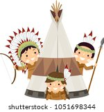 illustration of native american ... | Shutterstock .eps vector #1051698344