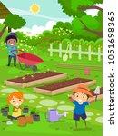 illustration of stickman kids... | Shutterstock .eps vector #1051698365