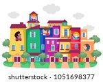illustration of stickman kids...   Shutterstock .eps vector #1051698377