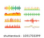 different color sound waves... | Shutterstock .eps vector #1051703399