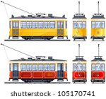 retro tram  1920th our days  ... | Shutterstock .eps vector #105170741