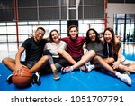 group of young teenager friends ... | Shutterstock . vector #1051707791
