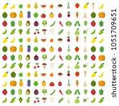 isolated vegetables fruits... | Shutterstock .eps vector #1051709651