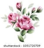 watercolor roses. bouquet of...   Shutterstock .eps vector #1051720709
