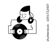 dj with vinyl record. vector... | Shutterstock .eps vector #1051722407