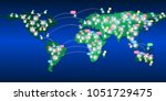 world map and network with... | Shutterstock .eps vector #1051729475