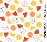 seamless fruit pattern. apple ... | Shutterstock .eps vector #1051732961
