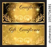 gift certificate. gold and... | Shutterstock . vector #1051736381