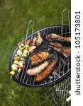 meat cooking on barbeque | Shutterstock . vector #105173801