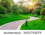 pathways with green lawns ... | Shutterstock . vector #1051753079