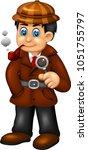 funny detective cartoon... | Shutterstock .eps vector #1051755797