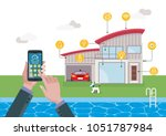 smart home technology and... | Shutterstock .eps vector #1051787984