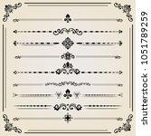 vintage set of decorative... | Shutterstock . vector #1051789259