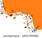 music notes gold on a black... | Shutterstock .eps vector #1051790981