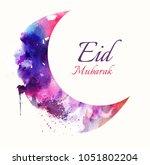 eid mubarak beautiful greeting... | Shutterstock . vector #1051802204
