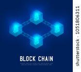 blockchain technology 3d... | Shutterstock .eps vector #1051806311