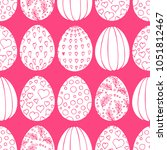 white and pink easter eggs.... | Shutterstock . vector #1051812467