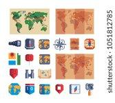 navigation pixel art icons map...   Shutterstock .eps vector #1051812785