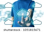 man press cloud computing | Shutterstock . vector #1051815671