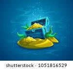 open trunk. hidden pirate chest ... | Shutterstock . vector #1051816529