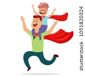 father and son dressed in... | Shutterstock .eps vector #1051820324