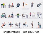 set with businessmen and... | Shutterstock .eps vector #1051820735