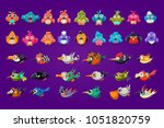 set of cartoon birds. funny... | Shutterstock .eps vector #1051820759