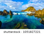 natural volcanic lagoon  pools... | Shutterstock . vector #1051827221