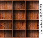 empty wood shelf. grunge... | Shutterstock . vector #105185021