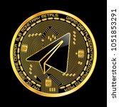 crypto currency golden coin... | Shutterstock .eps vector #1051853291