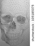 Skull pattern on white material - stock photo