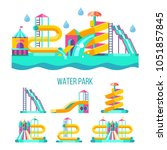 Water park. Water slides, summer fun on the water. Summer vacation, tropical fruits, nature, recreation. Vector clipart. | Shutterstock vector #1051857845