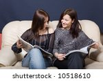 two young girls reading... | Shutterstock . vector #10518610