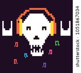 pixel graphic skull music fun | Shutterstock .eps vector #1051867034